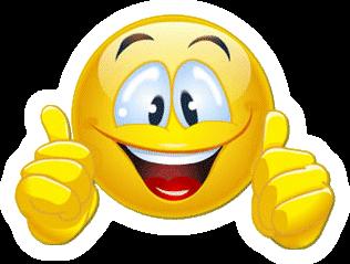Smiley deux pouces en l air et large sourire tr